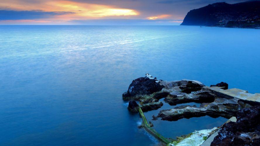 rocks sea wallpaper