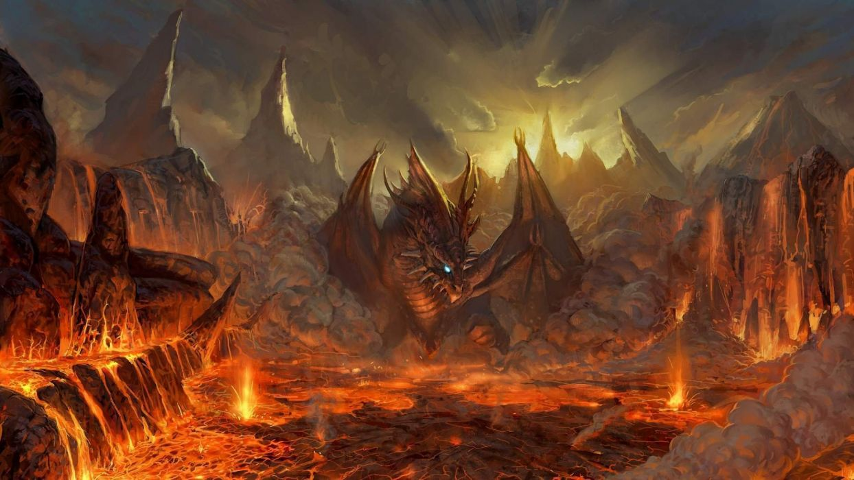 Video Games Mountains Wings Red Dragons Orange Lava Fantasy