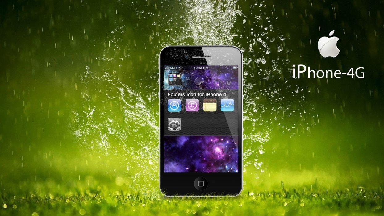 Apple Inc_ raindrops iPhone 4 wallpaper