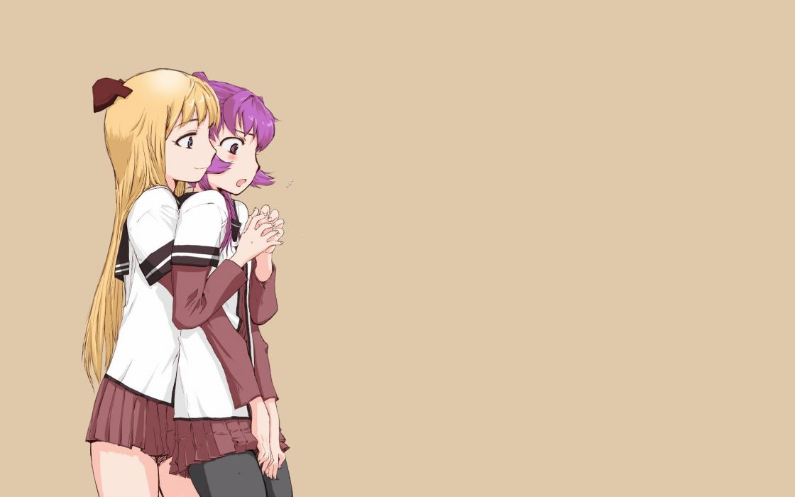 blondes blue eyes yuri long hair purple hair thigh highs purple eyes Toshinou Kyouko Yuru Yuri simple background anime girls Sugiura Ayano hair ornaments brown background wallpaper