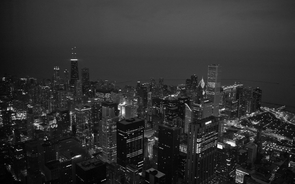 cityscapes Chicago lights grey buildings skyscrapers monochrome wallpaper
