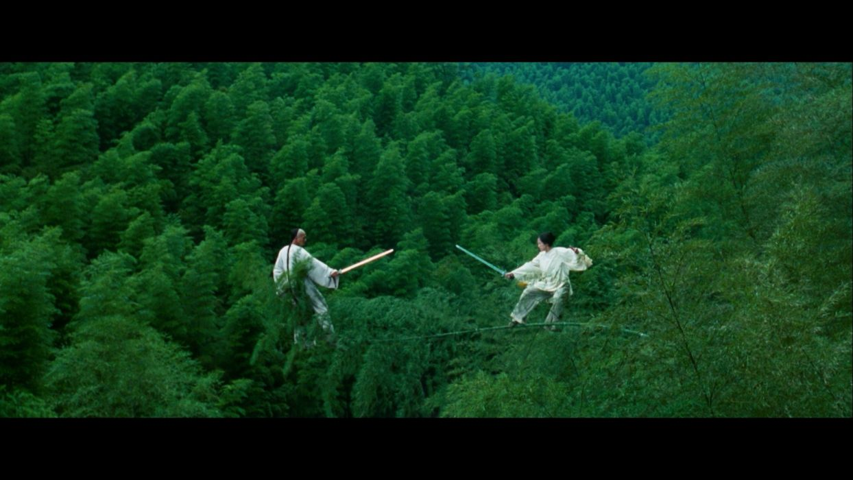 trees screenshots Ziyi Zhang martial arts swords Crouching Tiger Hidden Dragon wallpaper