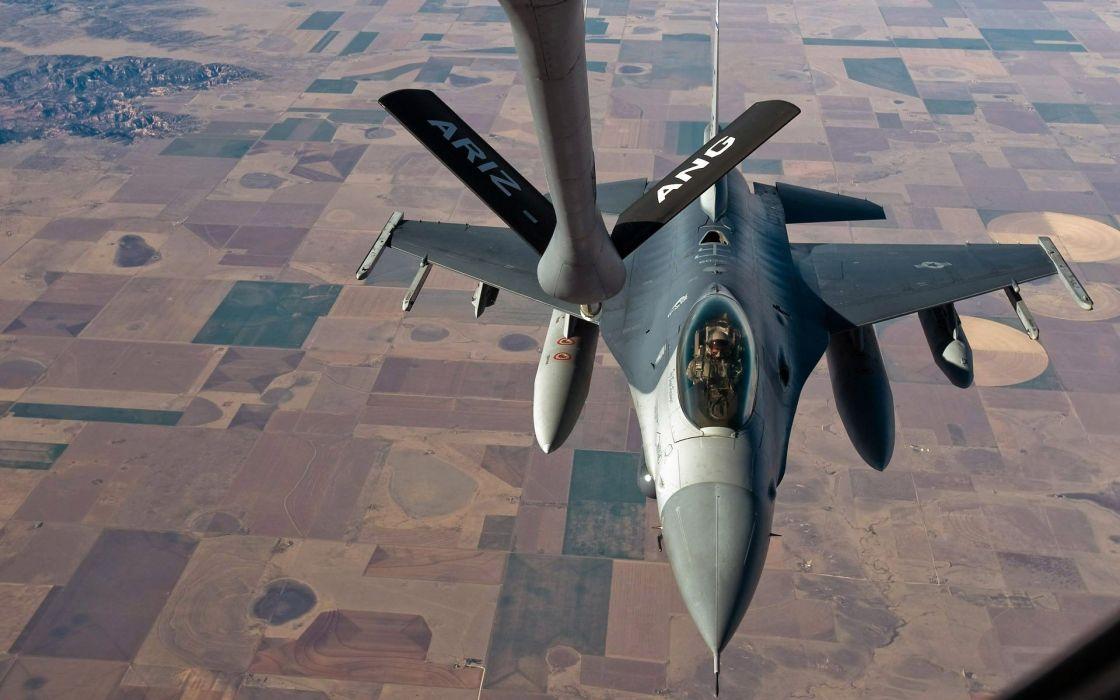aircraft war F-16 Fighting Falcon fueling wallpaper