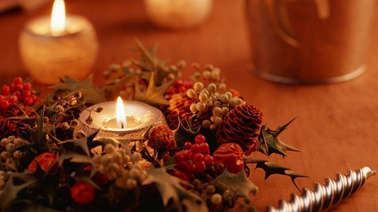 flowers Christmas objects candles ornaments decorations wallpaper