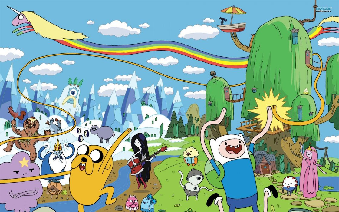 Adventure Time drawn Finn the Human Jake the Dog Marceline the Vampire Queen Princess Bubblegum Lady Rainicorn Ice King Lumpy Space Princess Marceline wallpaper