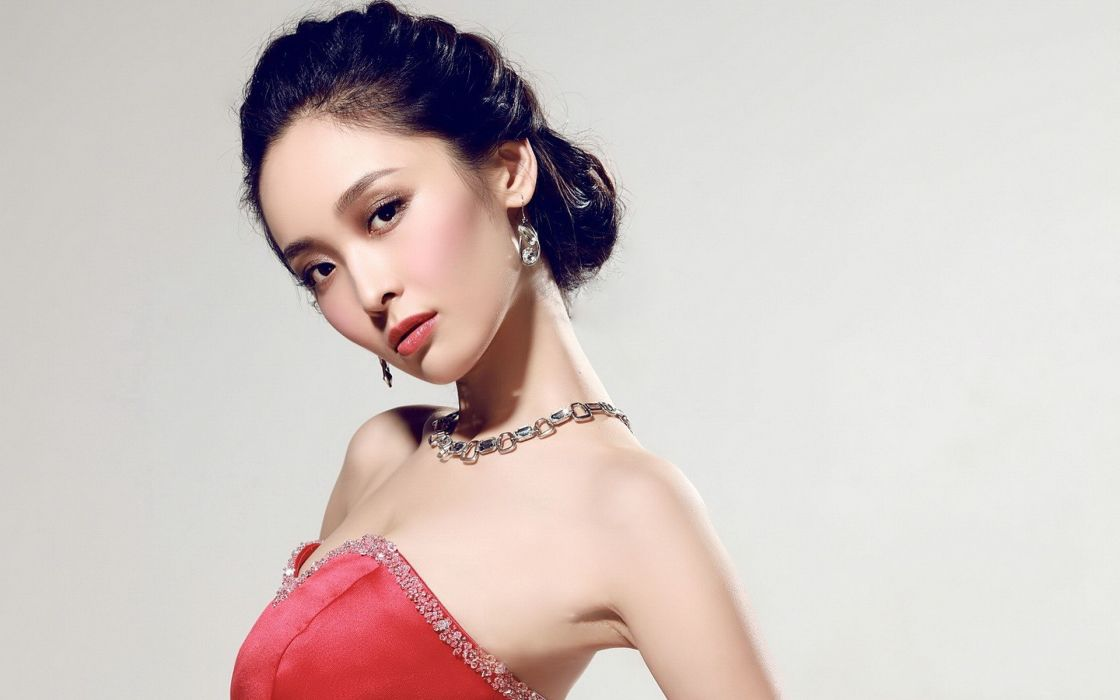 women China models Asians simple background wallpaper