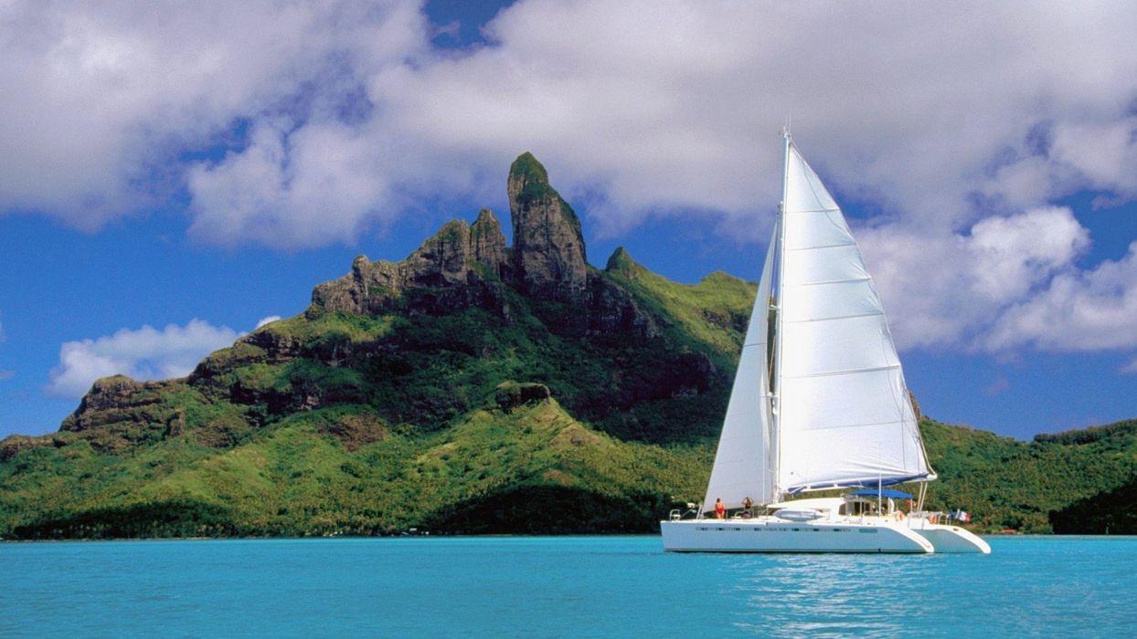 French Polynesia Catamaran Lagoon Bora Wallpaper