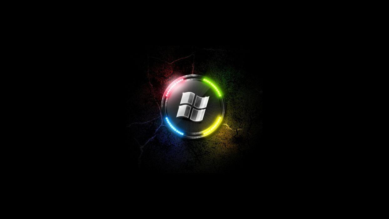 light neon lamp Microsoft Windows logos wallpaper