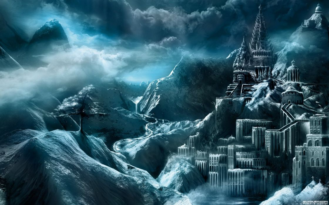 ice mountains castles cold filter frosty monochrome Vitaly S Alexius wallpaper