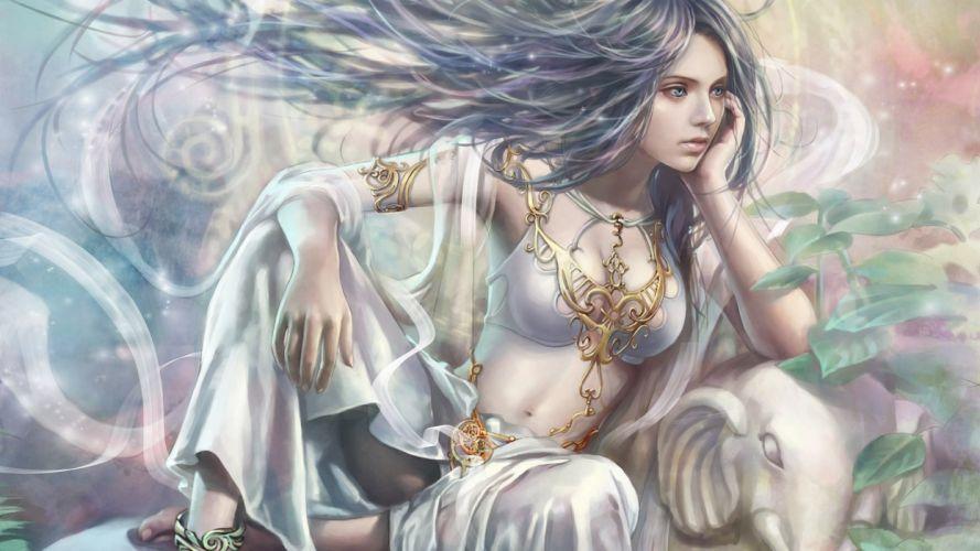 women blue eyes princess fantasy art artwork pale skin black hair wallpaper