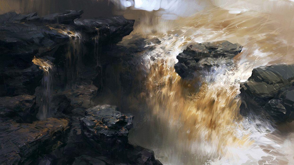 artwork waterfalls wallpaper