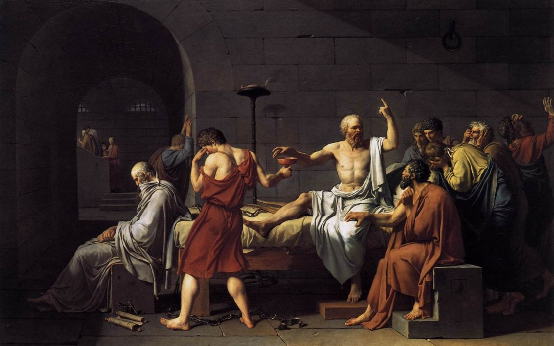 paintings Socrates Jacques-Louis David The Death of Socrates wallpaper