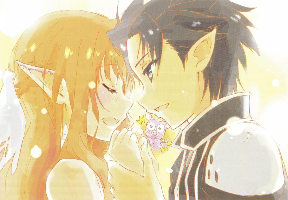 elves blush pigs anime holding hands long ears anime girls scans Sword Art Online Yuuki Asuna Kirigaya Kazuto Kirito wallpaper