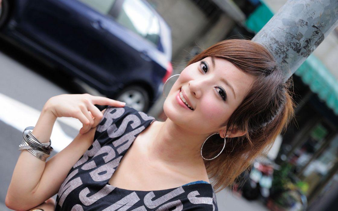 brunettes women Asians Taiwan Mikako Zhang Kaijie wallpaper