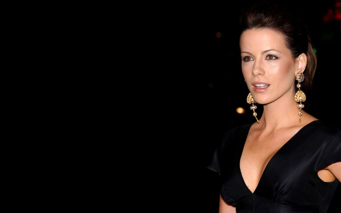 brunettes women Kate Beckinsale earrings faces black background wallpaper