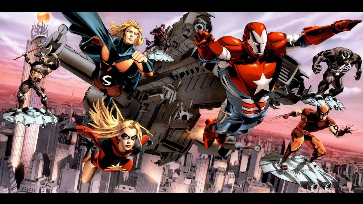 comics Venom Wolverine Marvel Comics Dark Reign Sentry Ares Iron Patriot wallpaper
