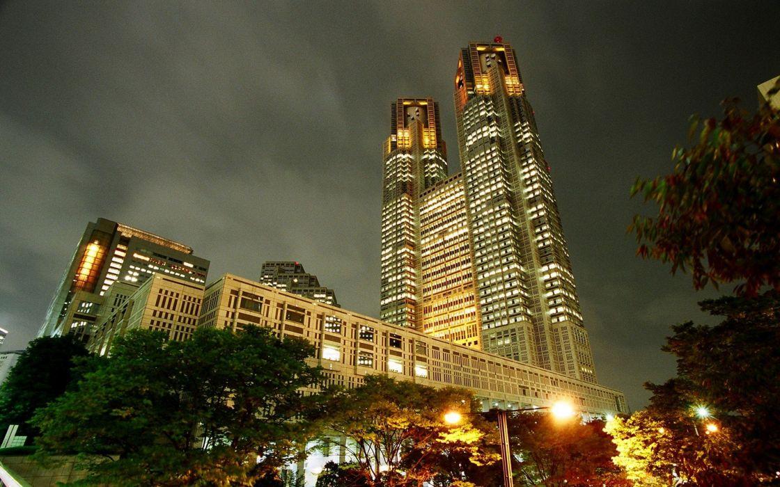 cityscapes night urban skyscrapers wallpaper