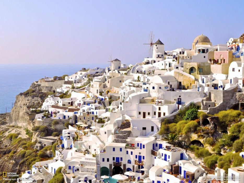 nature cityscapes National Geographic Greece villages sea wallpaper