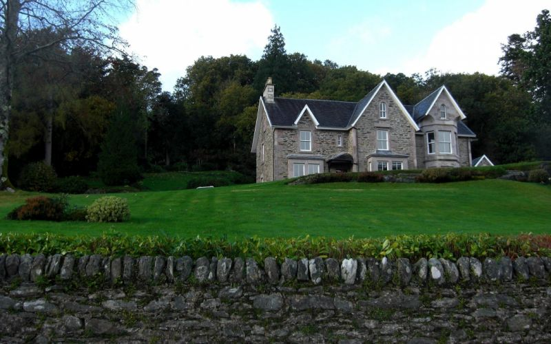 landscapes nature trees architecture garden houses Scotland stone wall HDR photography countryside wallpaper