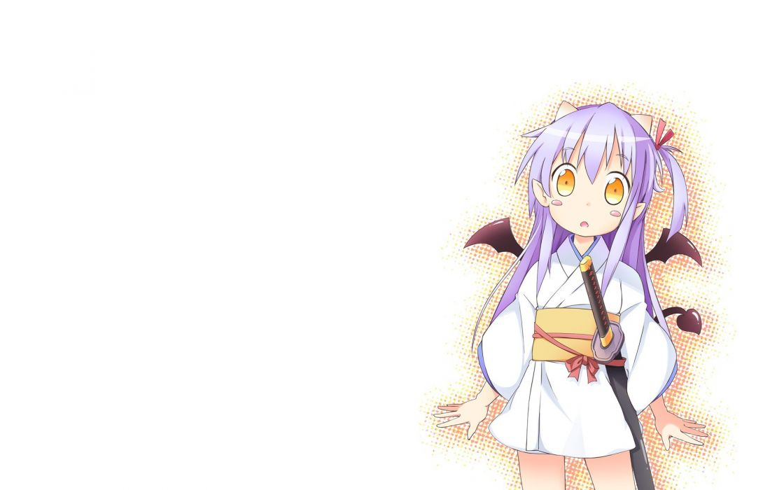 wings katana horns long hair weapons purple hair yellow eyes Japanese clothes simple background anime girls swords white background Sengoku Collection Tsukahara Bokuden wallpaper