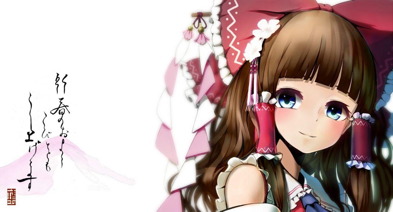 Touhou Hakurei Reimu smiling simple background hair ornaments wallpaper