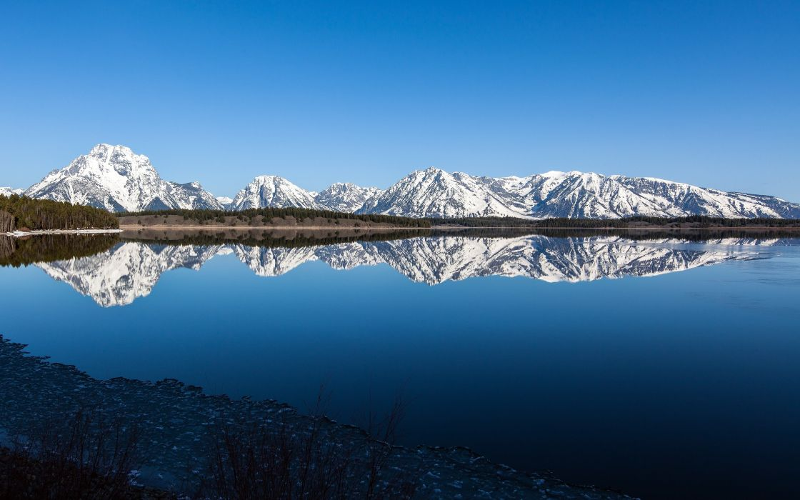 mountains landscapes nature snow USA calm Wyoming lakes reflections wallpaper