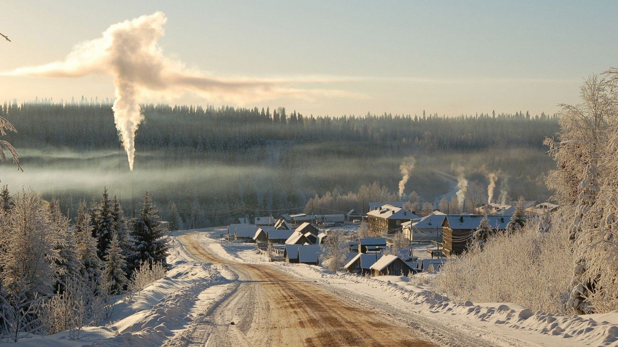 landscapes nature winter snow trees cityscapes smoke towns roads wallpaper