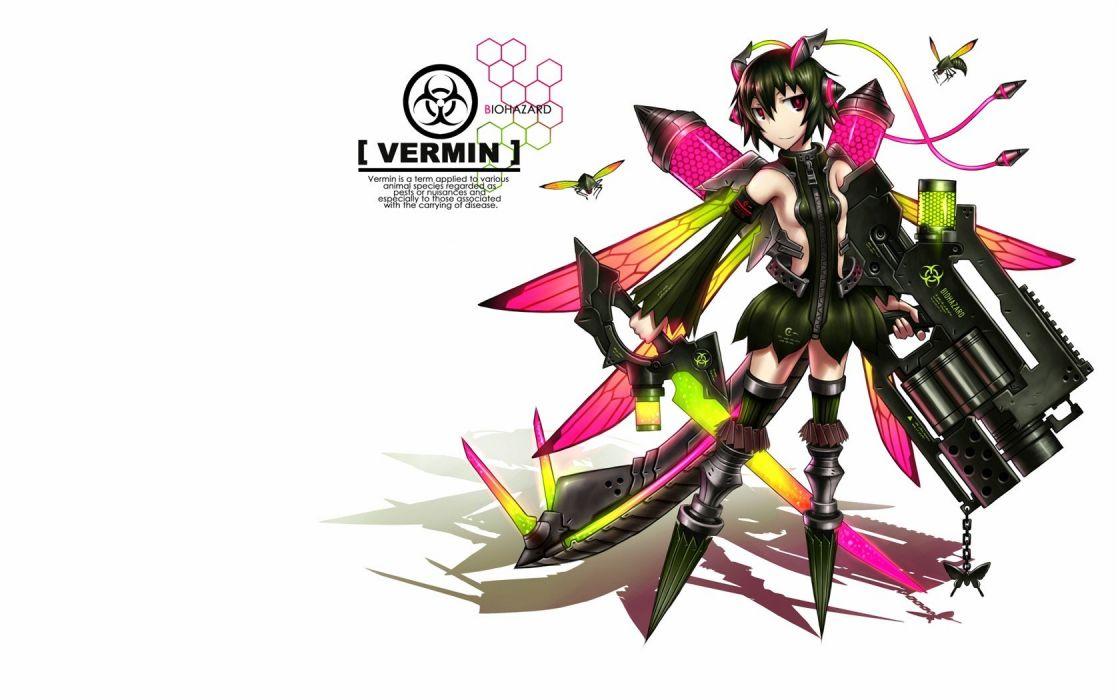wings guns blade Pixiv Gia (artist) vermin simple background anime girls wallpaper