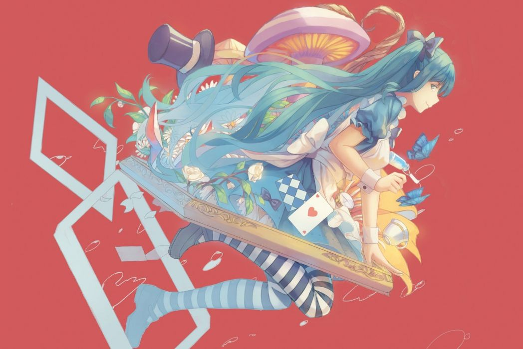 cards cosplay Vocaloid flowers Hatsune Miku Alice in Wonderland ribbons blue hair mushrooms hats anime girls striped legwear wallpaper