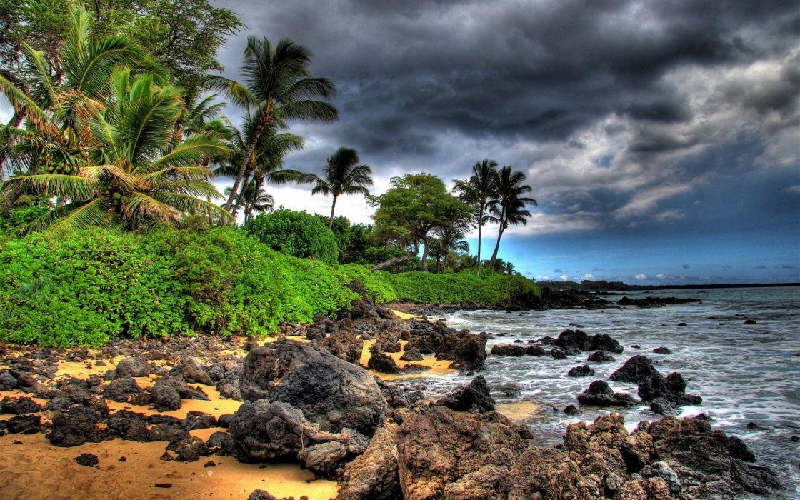 ocean clouds trees rocks Hawaii beaches wallpaper