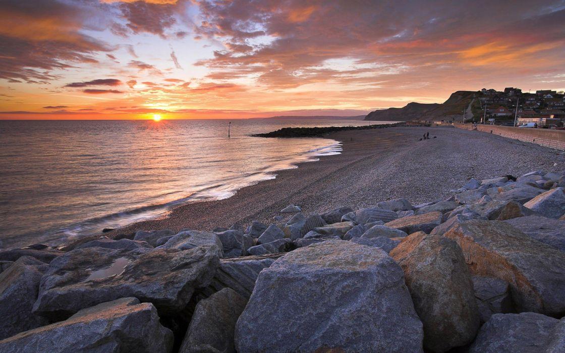 sunset nature sea beaches wallpaper