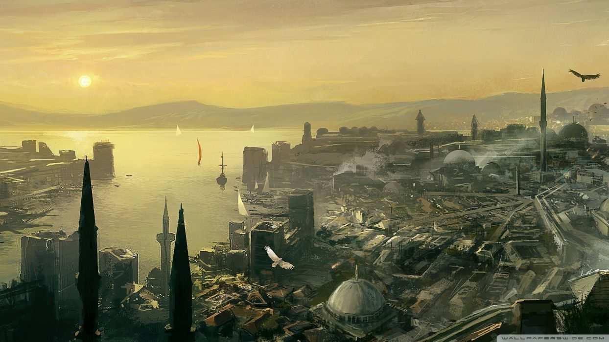 cityscapes artwork Istanbul Assassins Creed Revelations wallpaper