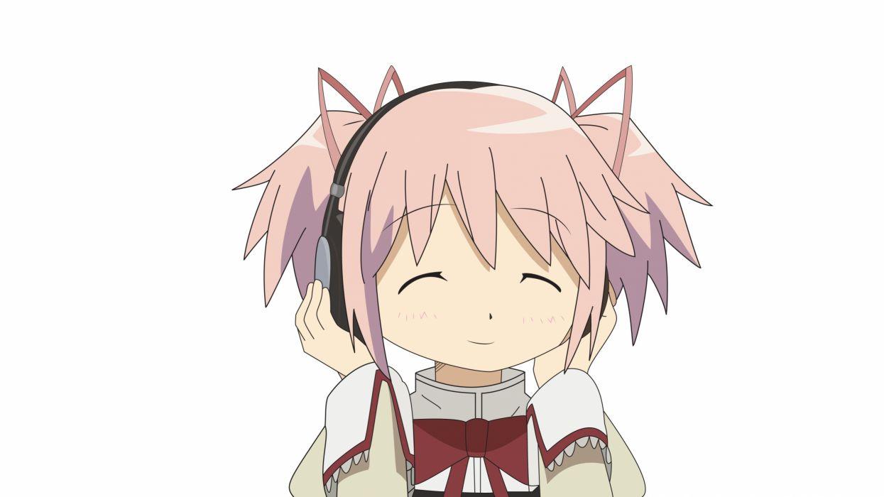 headphones music pink hair Mahou Shoujo Madoka Magica Kaname Madoka anime simple background anime girls wallpaper