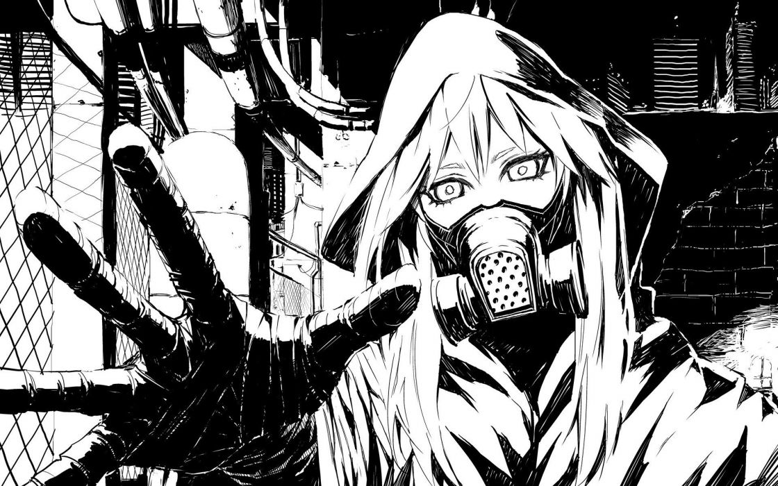 black and white Vocaloid gas masks drawings anime wallpaper