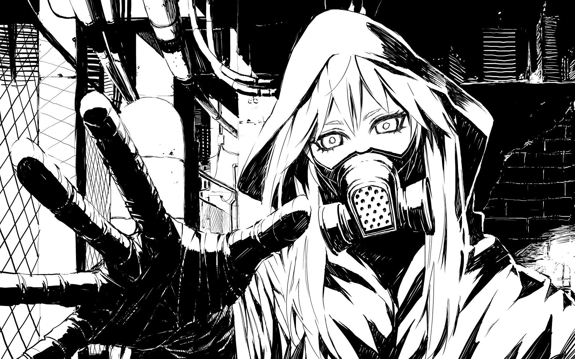 Black and white vocaloid gas masks drawings anime - Black and white anime wallpaper ...
