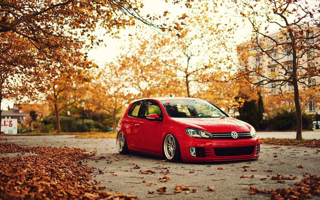 trees autumn cars roads  Volkswagen Golf 6 wallpaper