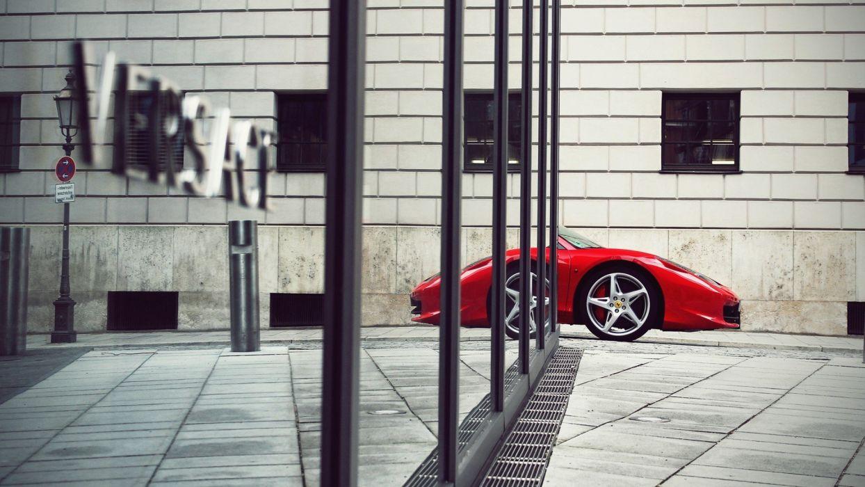 streets mirrors cars Ferrari vehicles Ferrari 458 Italia reflections Versace cities wallpaper