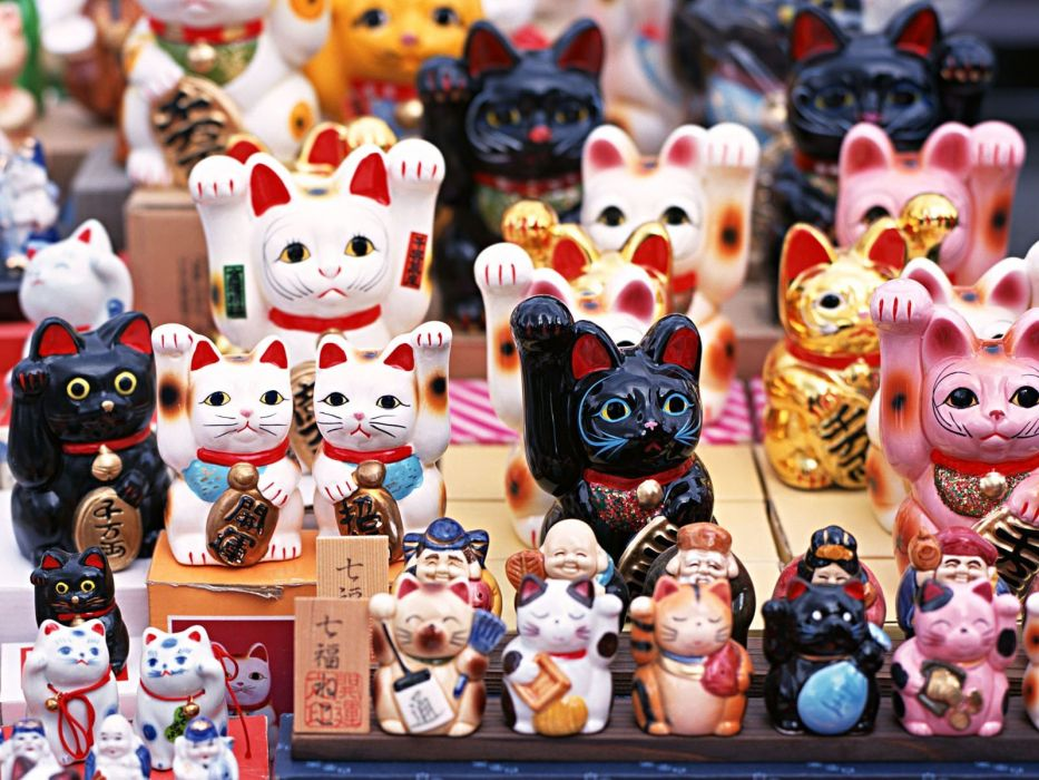 Japan cats toys (children) japan views Japanese traditions Maneki Neko wallpaper
