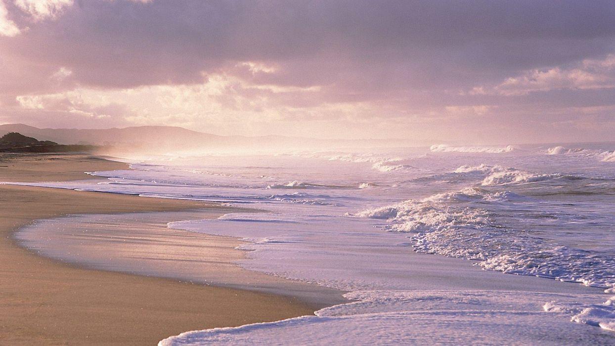 sunset waves easy sea shorelines beaches wallpaper