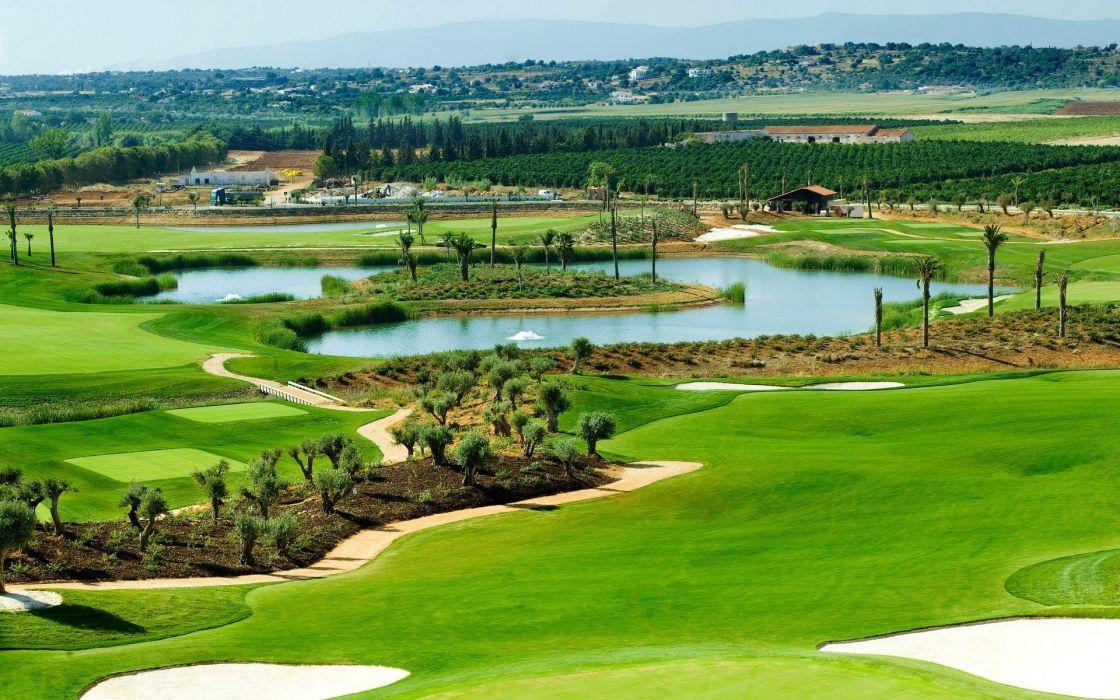 landscapes nature golf golf course wallpaper