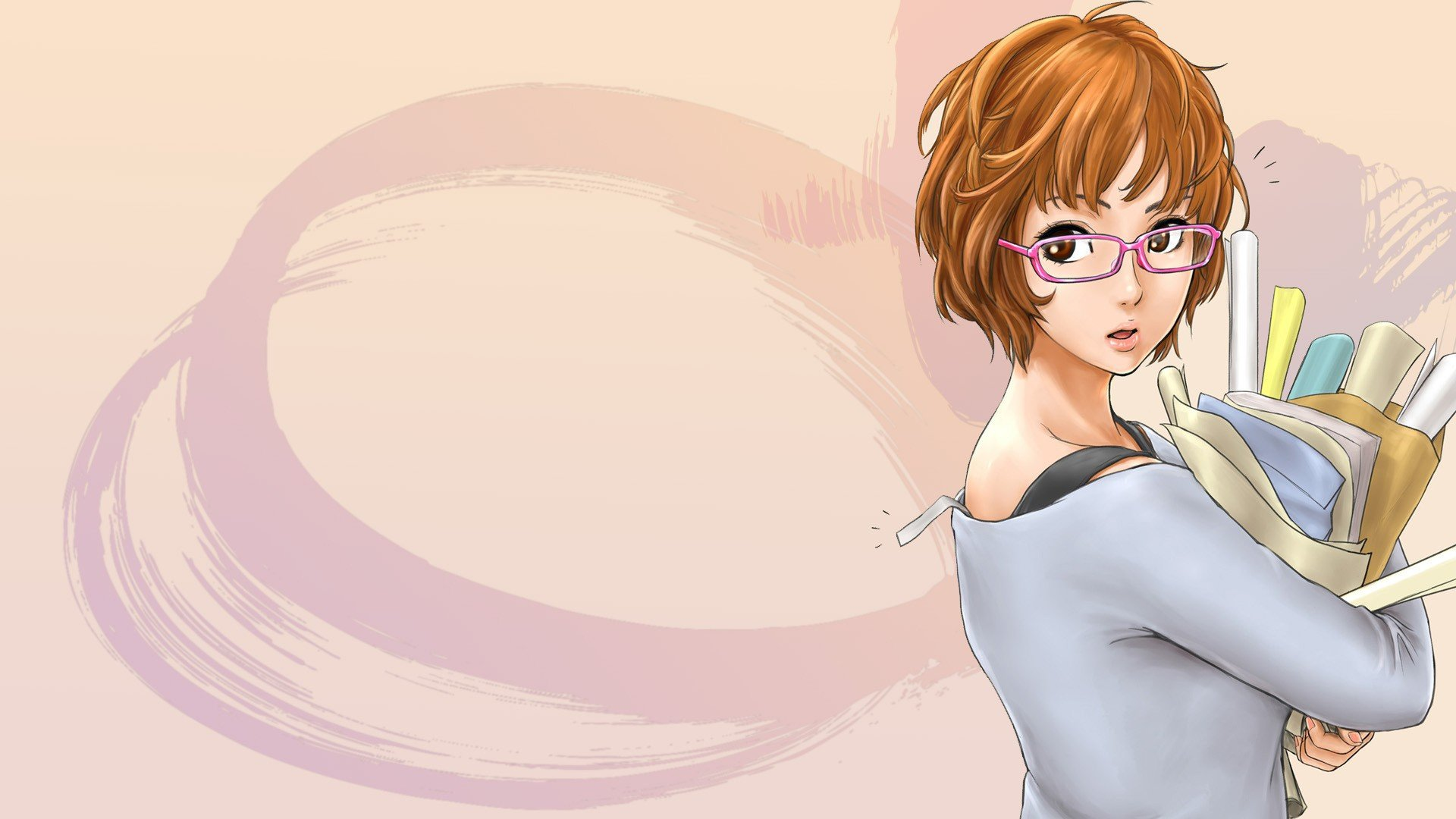 Glasses short hair meganekko anime girls wallpaper 1920x1080 238415 wallpaperup