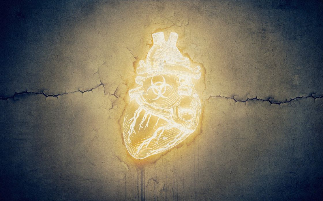 biohazard grunge glowing hearts cracks symbols neon wallpaper