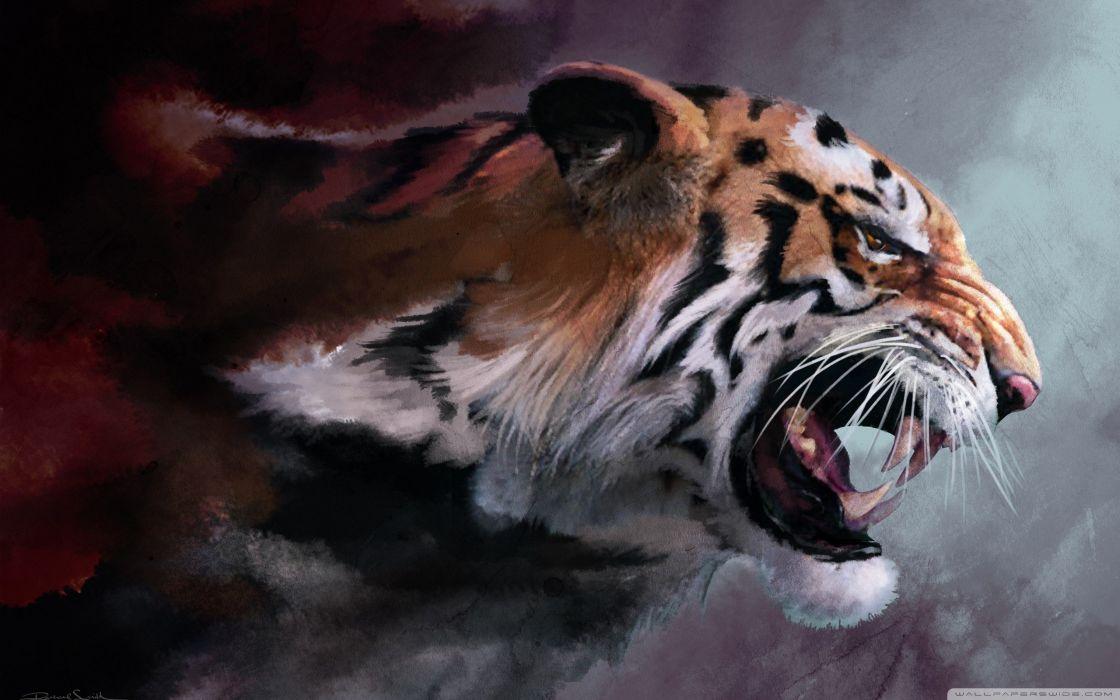 angry tiger painting-wallpaper-2560x1600 wallpaper