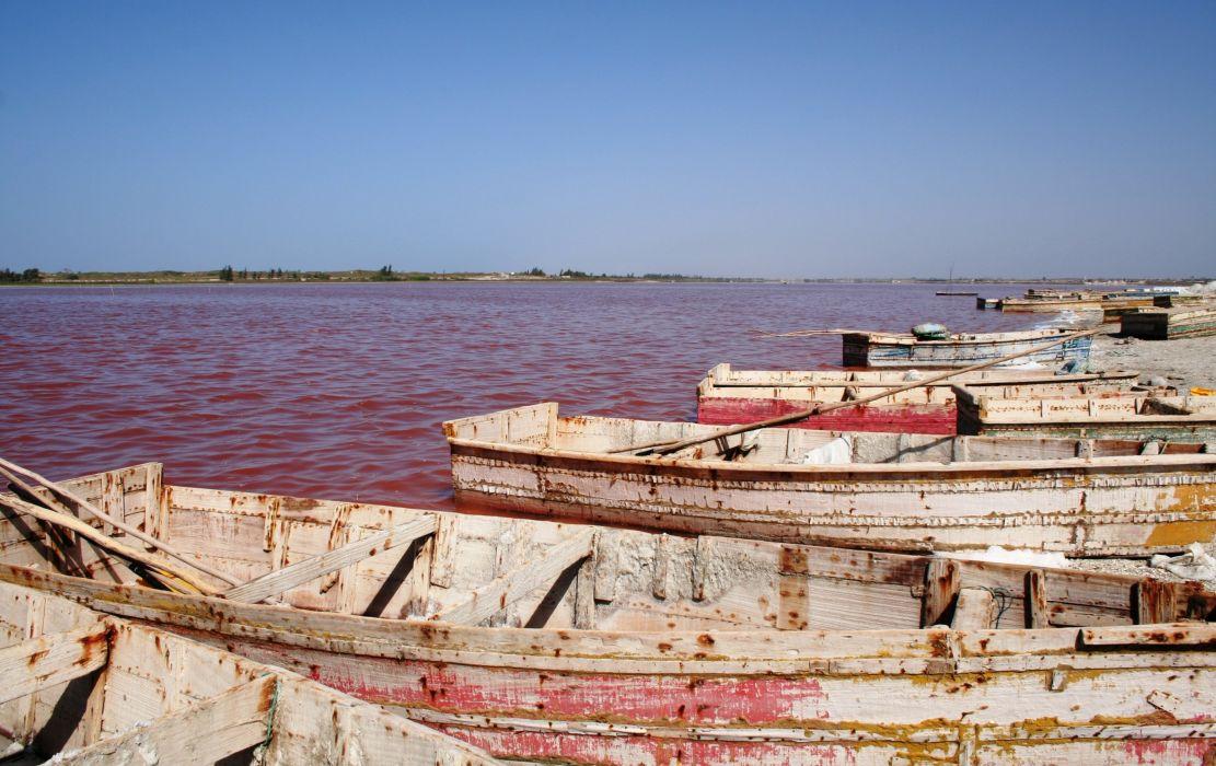 ships retba pink lake wallpaper