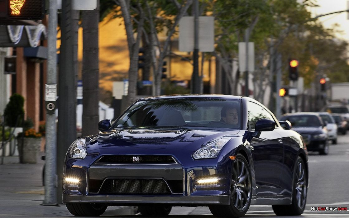 blue cityscapes cars Nissan Dark blue  Nissan Skyline GT-R Nissan GT-R R35 front angle view wallpaper