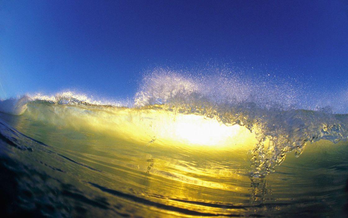 water waves sunlight blue skies wallpaper