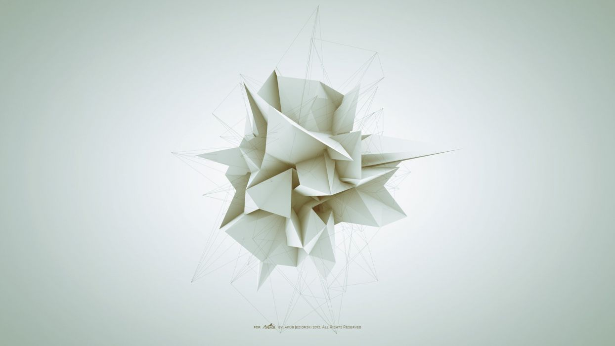abstract white geometry forms Adam Spizak wallpaper