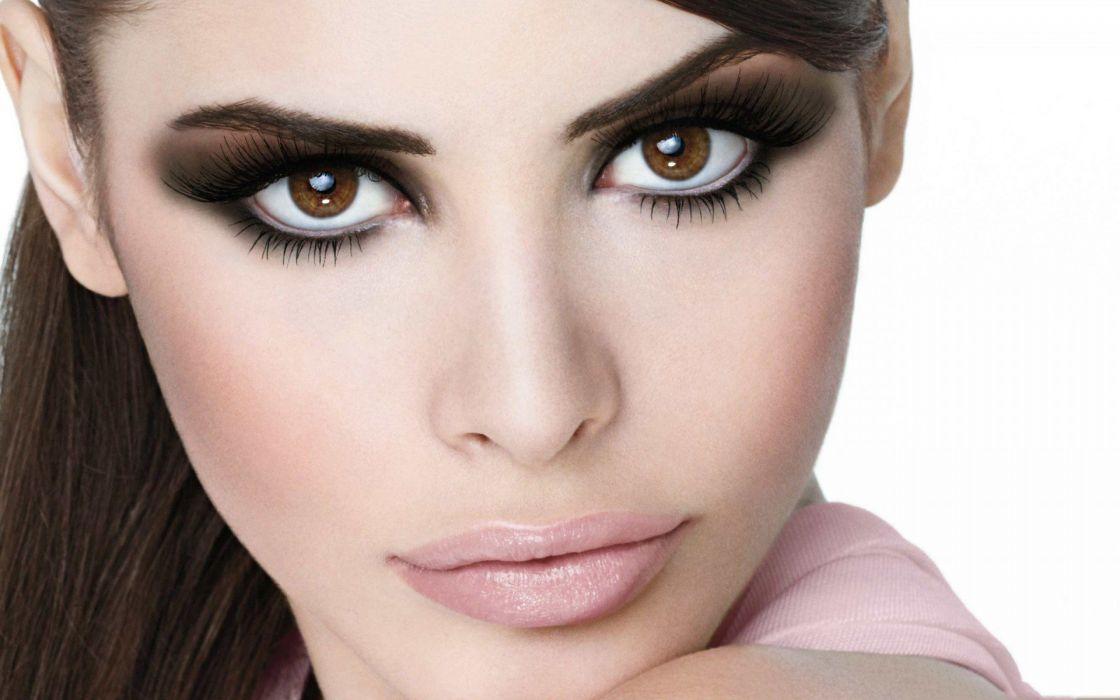 women close-up brown eyes faces wallpaper