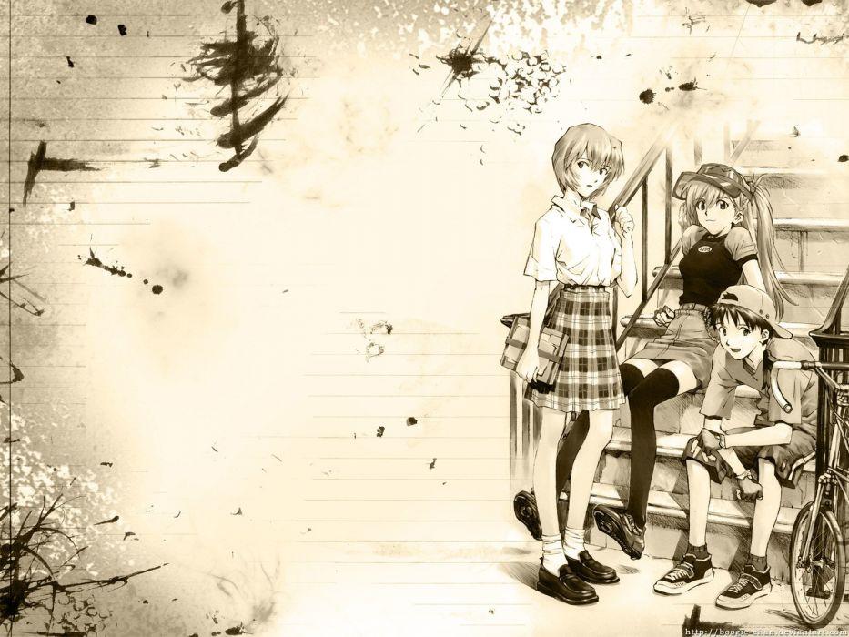Ayanami Rei Neon Genesis Evangelion Ikari Shinji Asuka Langley Soryu wallpaper