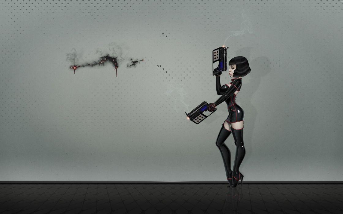 women guns latex weapons artwork wallpaper
